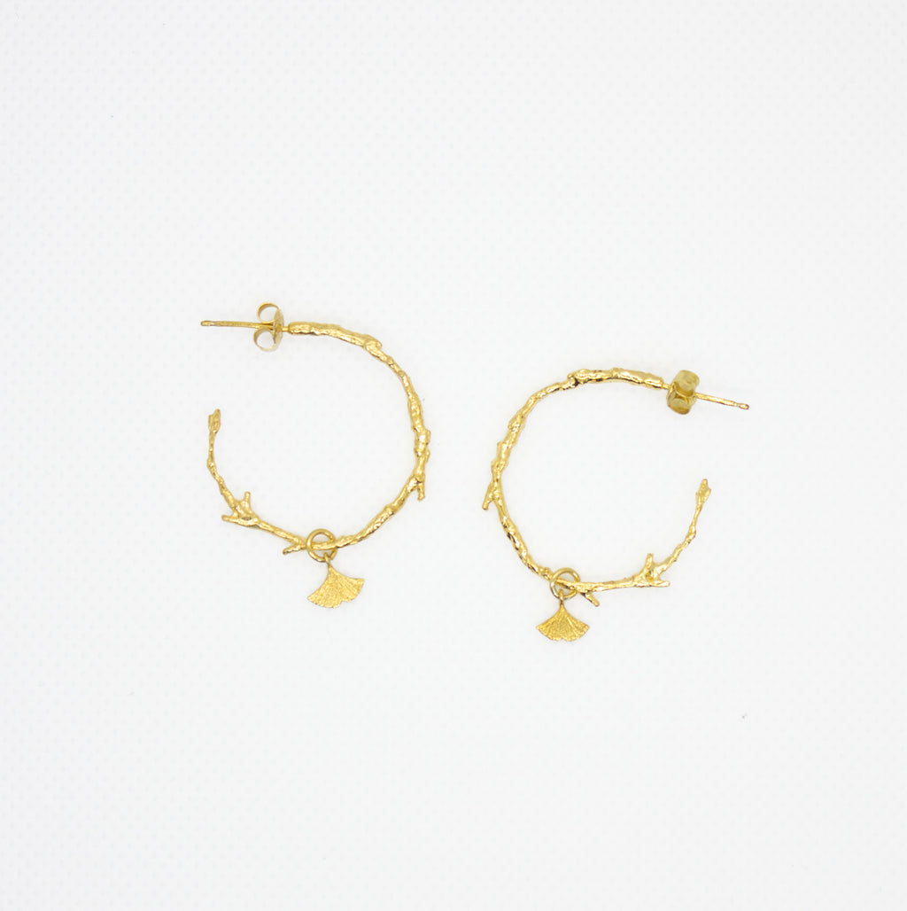 Earrings with Branch Shaped Hoops and Gingko Charm