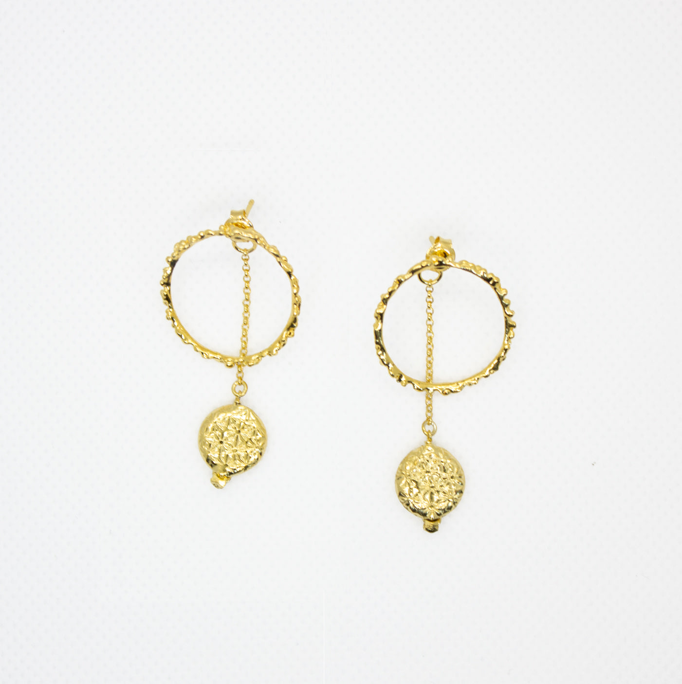 Earrings with Hoops and Dropped Charms