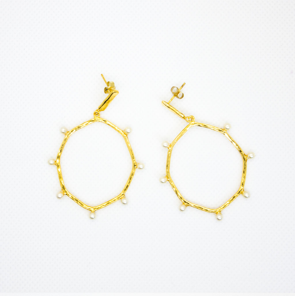 Earrings with Oval Hoops and Small Pearls