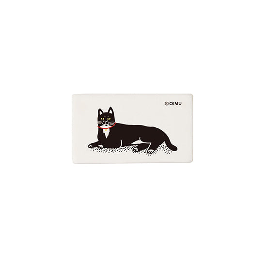 Square Eraser with Black Cat Print