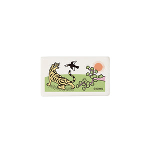 Square Eraser with Tiger and Magpie Print