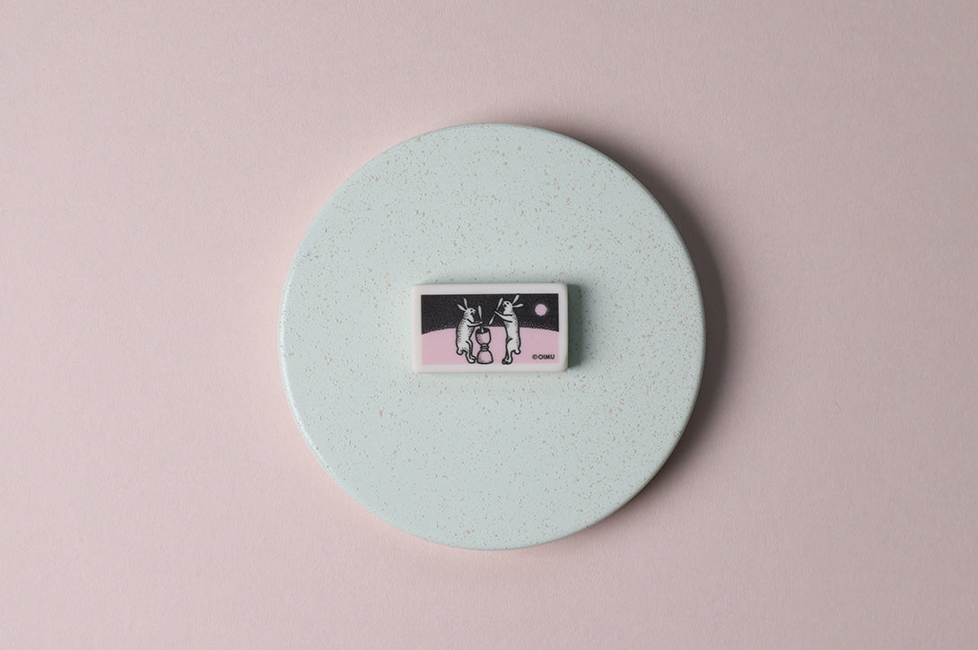 Square Eraser with Rabbits on the Moon Print