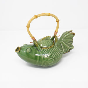 Blowfish Ceramic Tea Pot with Bamboo Handle