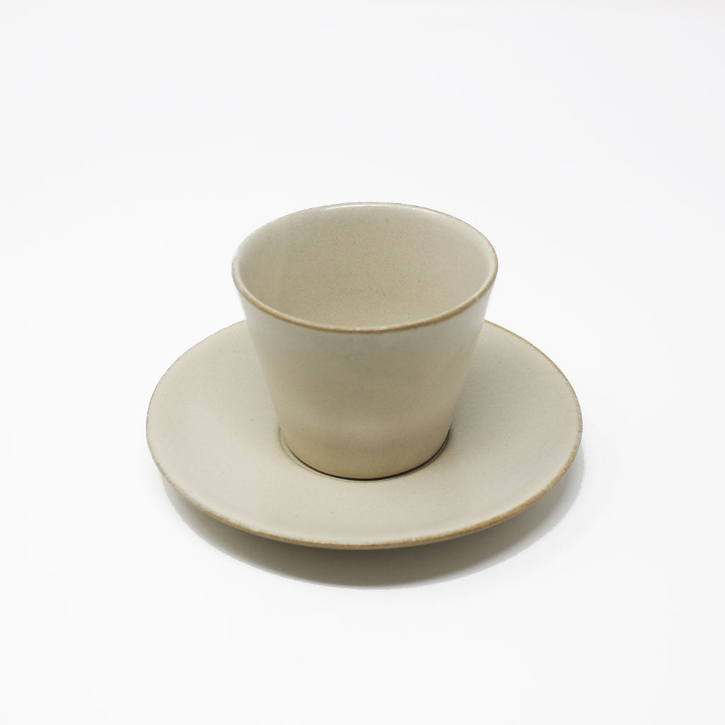 Small Light Beige Teacup and Saucer Set