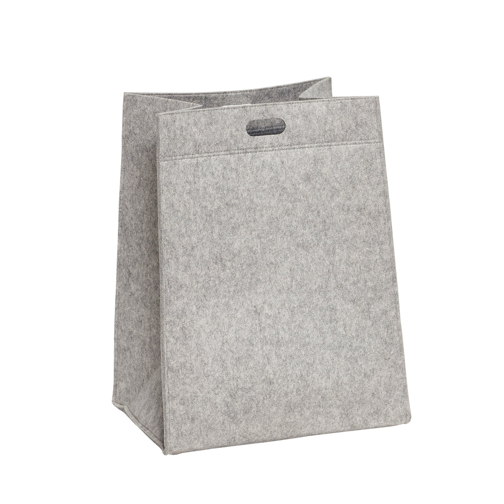 Square Grey Felt Laundry Basket Large Size