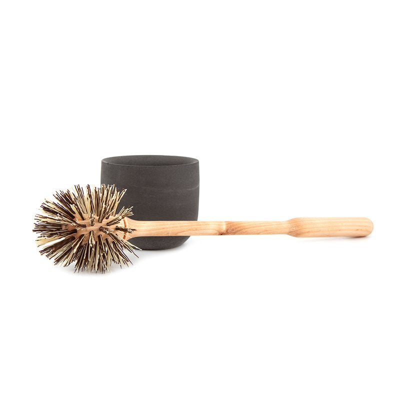 Toilet brush Made of Soft Concrete and Birch in Charcoal