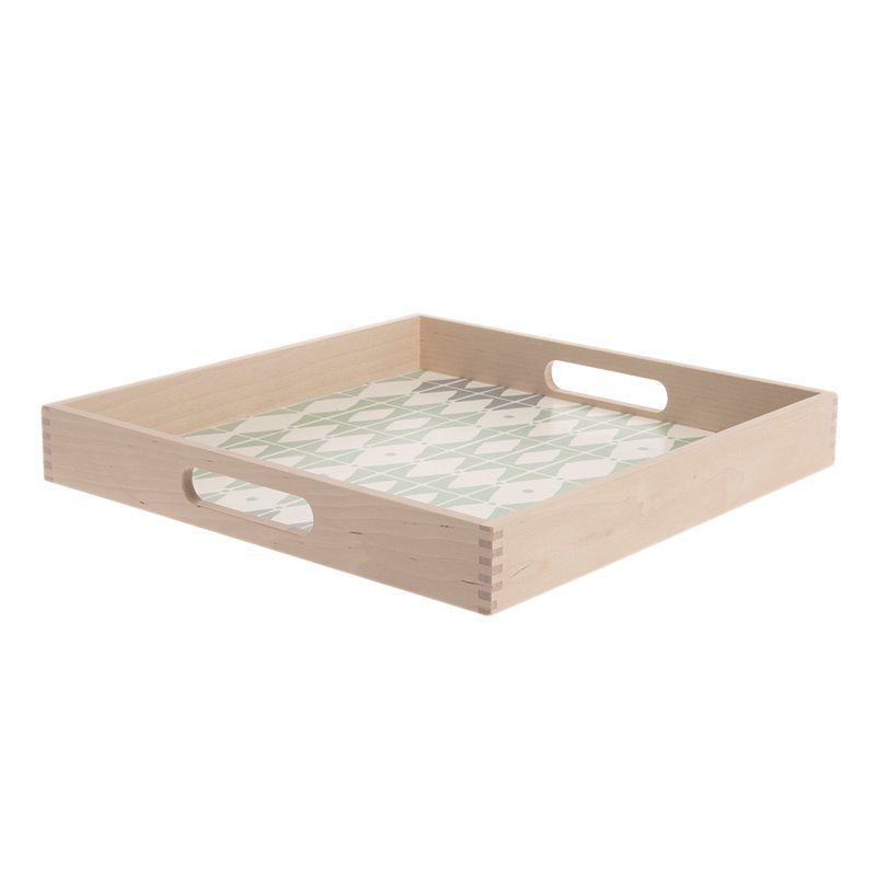 Square Birch Tray with Rhombus Pattern Bottom and Handles