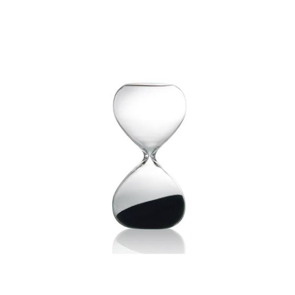 Sand Glass in Clear with Black Sand - 5 mins Egg Timer