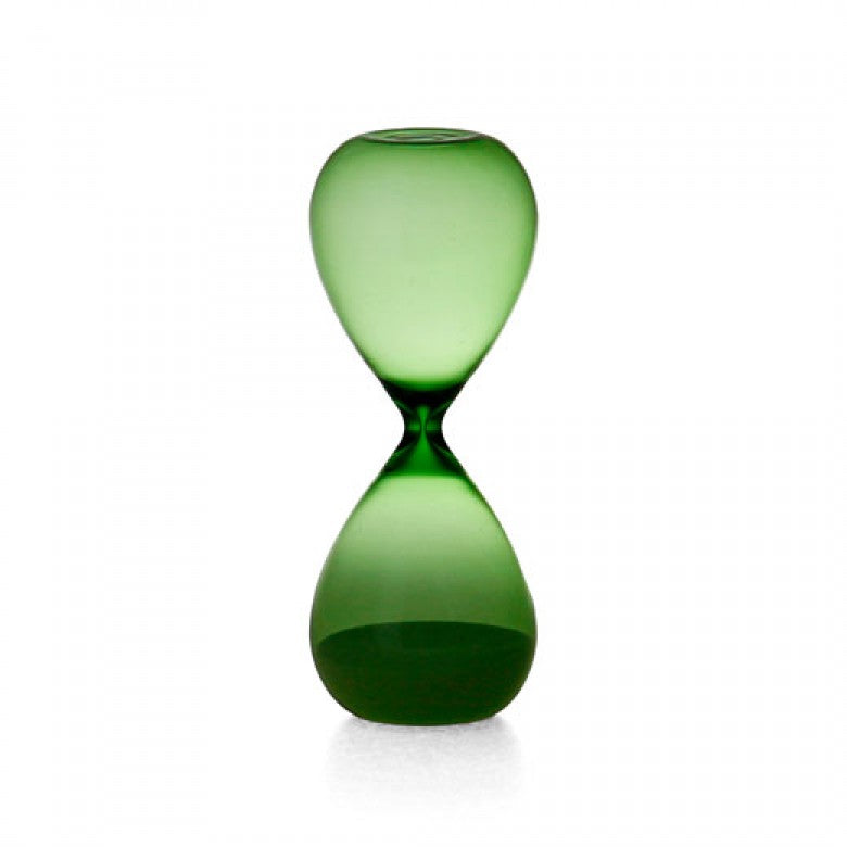 Sand Glass in Green with White Sand - 15 mins