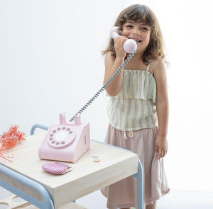 Wooden Retro Rotary Dial Telephone in Pink