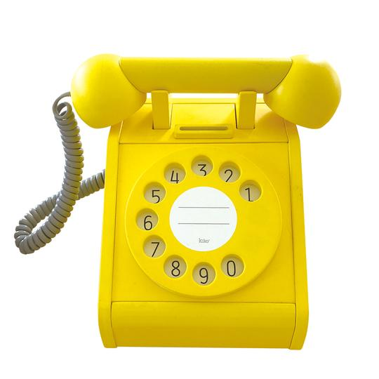 Wooden Retro Rotary Dial Telephone in Yellow