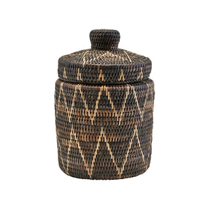 Boylo Dark Rattan Hand Woven Basket with a Lid