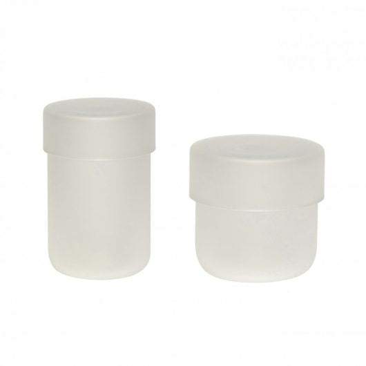 Set of 2 Frosted Glass Storage Jars with Lids