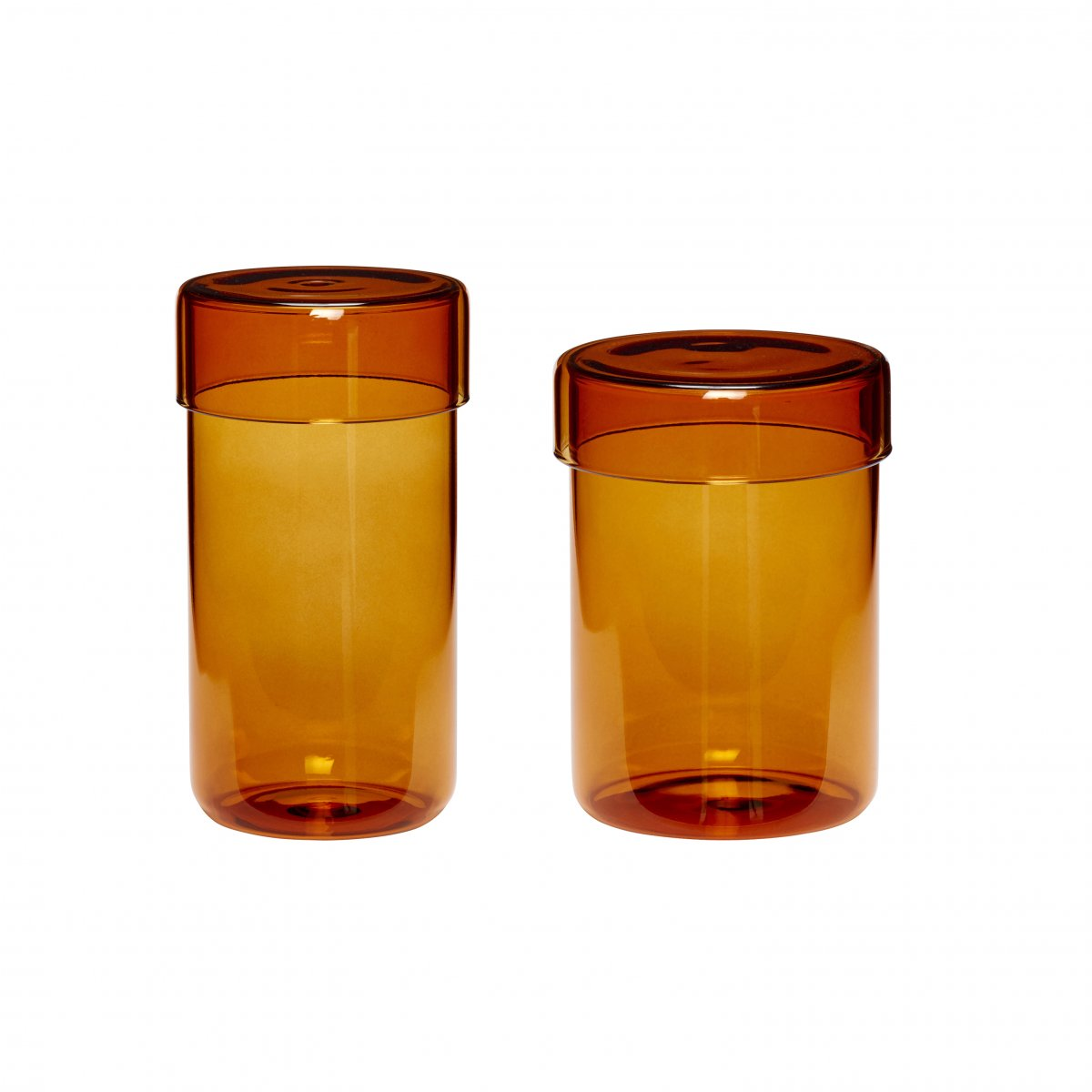Set of 2 Tall Amber Glass Storage Jars with Lids