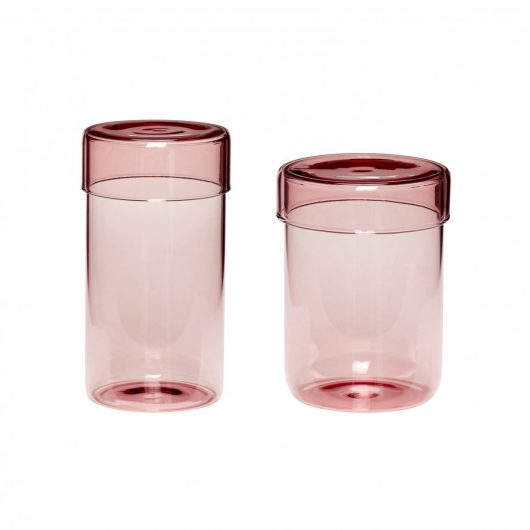 Set of 2 Tall Pink Glass Storage Jars with Lids
