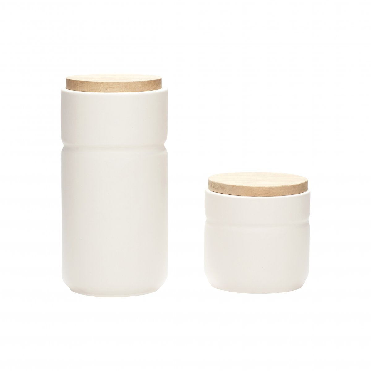 Tall White Ceramic Storage Jar with Wooden Lid