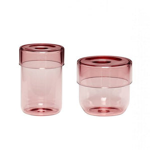 Set of 2 Pink  Glass Storage Jars with Lids