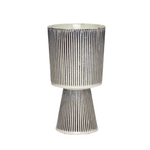 Fluted Ceramic Pot in Beige/Black Medium