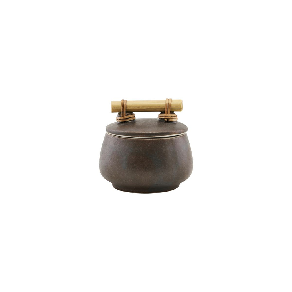 Brown Storage Jar with Lid Small