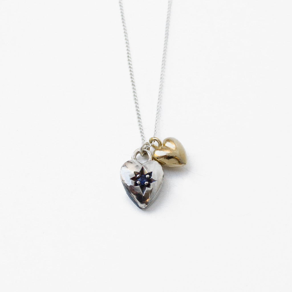 Necklace with Two Heart Shaped Pendants
