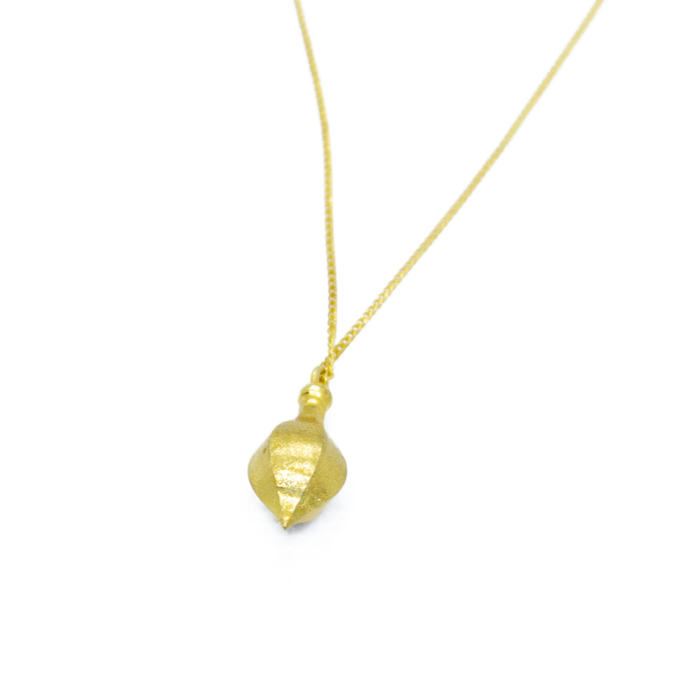 Long Chain Necklace with Acorn Shape Pendant