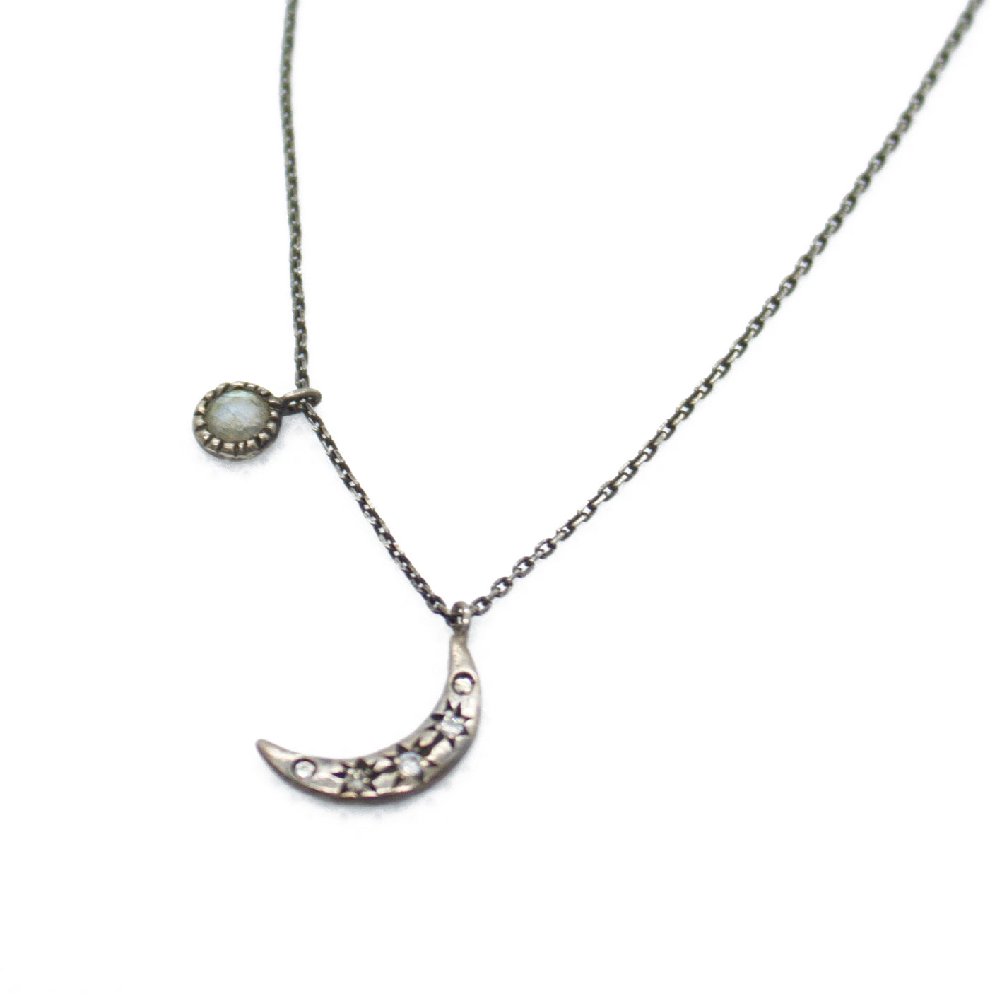 Silver Chain Necklace with Crescent Moon and  Sun Pendants