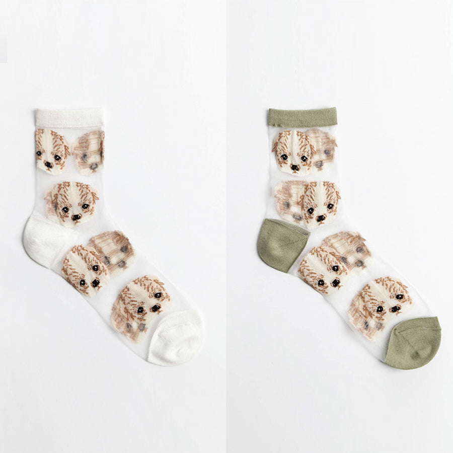 Puppy Embroidered See Through Socks (UK size 4 - 7)