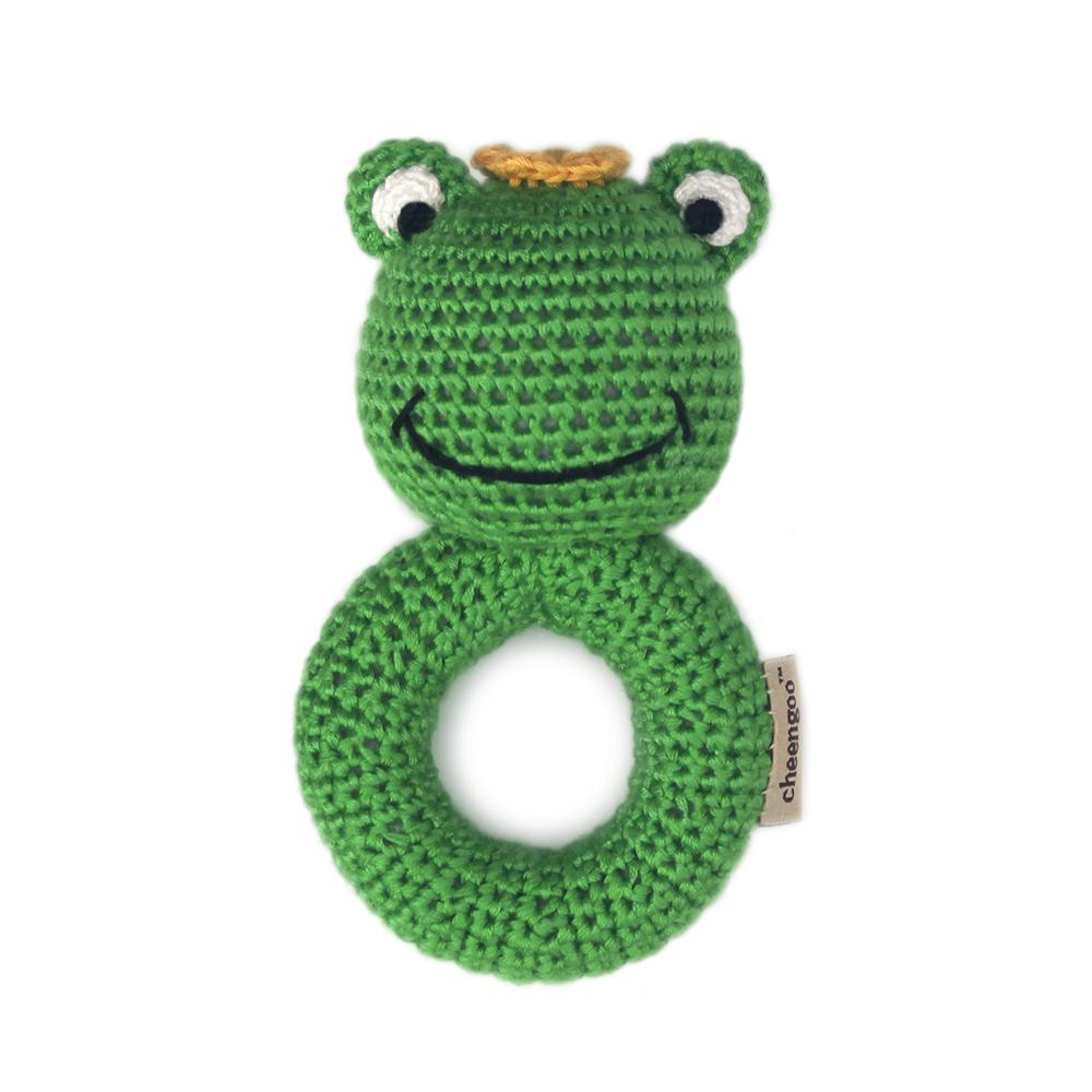 Hand Crocheted Ring Rattle Stick - Prince Frog