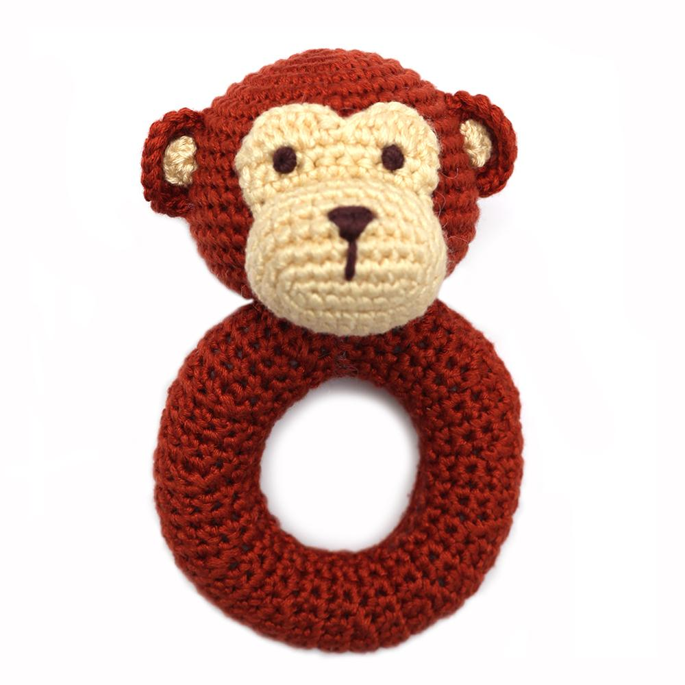 Hand Crocheted Ring Rattle Stick - Mr. Monkey