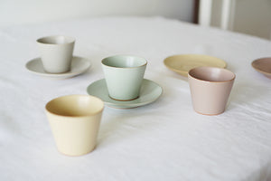 Small Celadon Green Teacup and Saucer Set