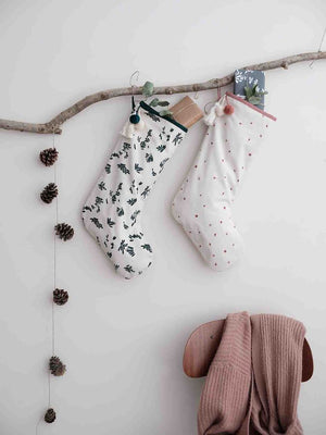 Christmas Stocking with Ever Green Print