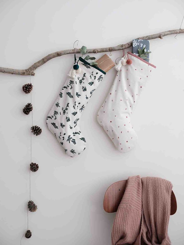 Christmas Stocking with Berry Print