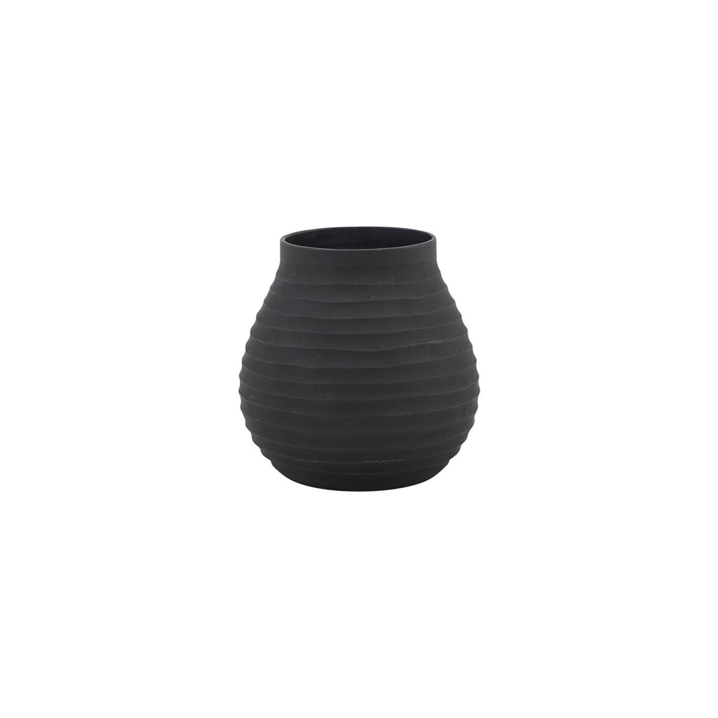 Small Black Vase with Grooves