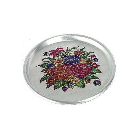 28cm Tin Tray with Flowers Print