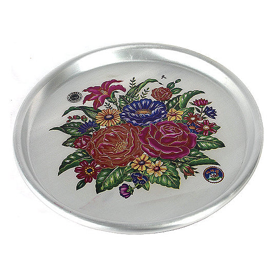 38cm Tin Tray with Flowers Print