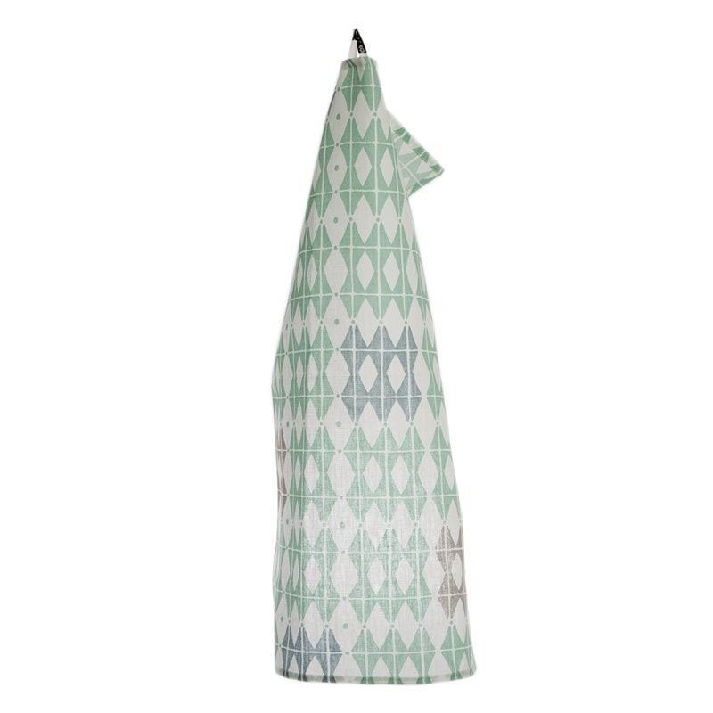Frosty Green Rhombus Pattern Tea Towel 100% Linen
