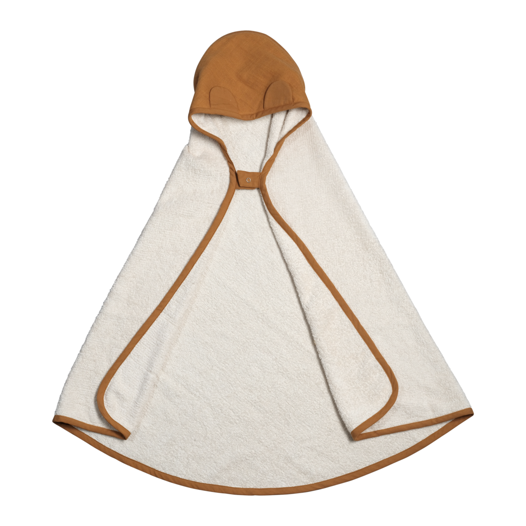 Animal Hooded Baby Towel in Ochre