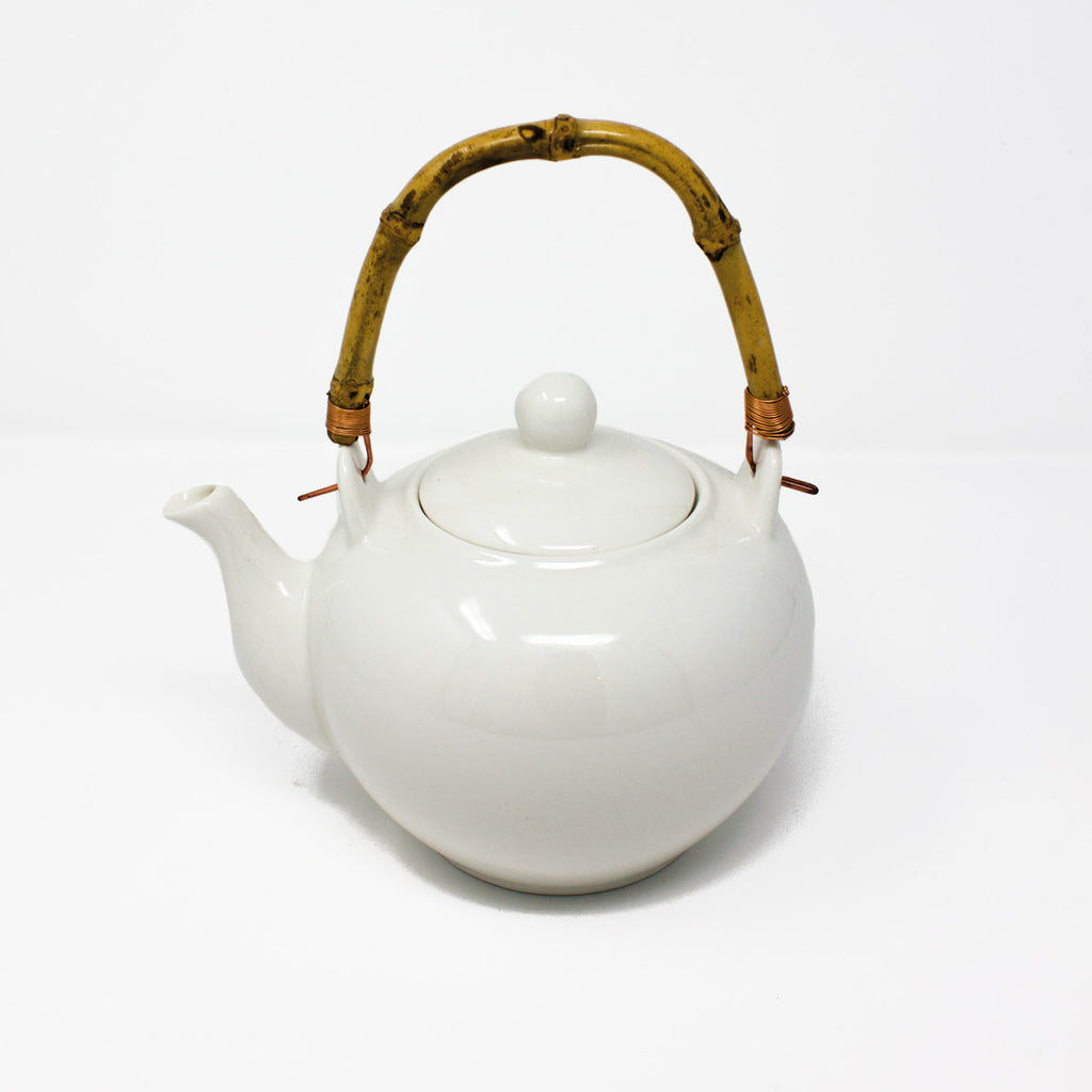 White Ceramic Tea Pot with Bamboo Handle