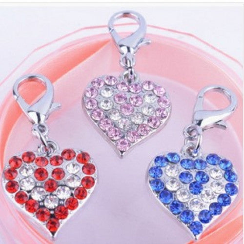 Pet Jewelry Pendent Collar Charms Pet Supplies Personalized DIY Heart Shaped Dog Tag Rhinestones