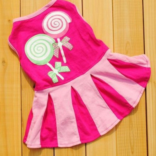 Puppy Dog Cat Skirt Candy Color Stripe Dress Clothes - Pet Dogs Cats Skirt Stripe Clothes Apparel