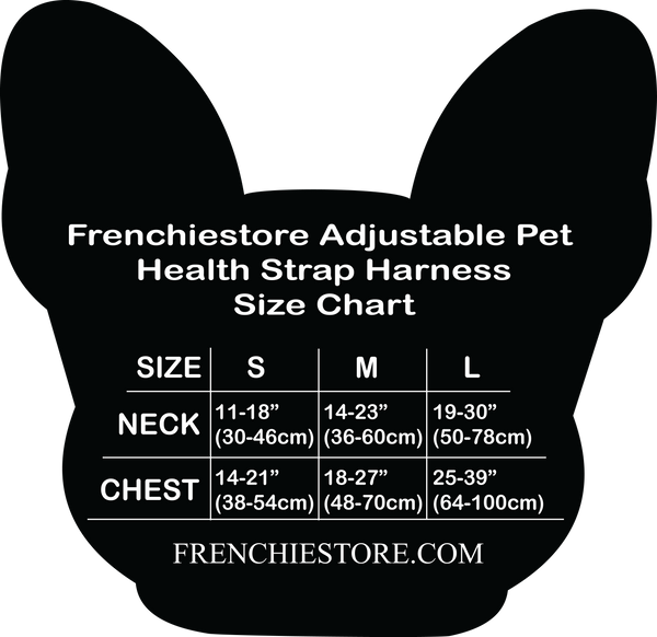 Frenchiestore.com Size Chart Adjustable Pet Health Strap Harness | UniPup