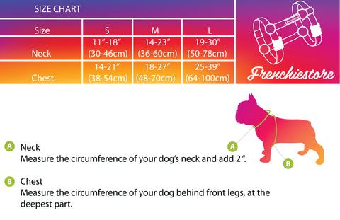 Frenchie Strap Harness Size chart