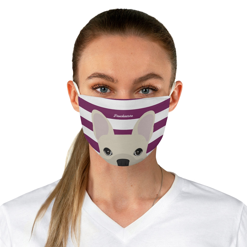 Cream Frenchie on Beet Stripes Reusable Face Mask