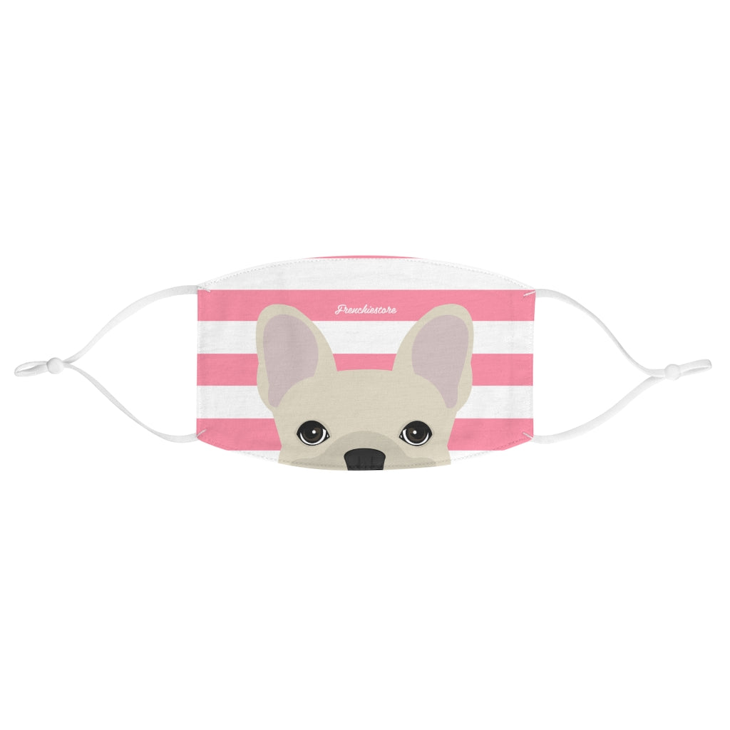 Cream Frenchie on Pink Stripes Reusable Face Mask, Frenchie Dog, French Bulldog pet products