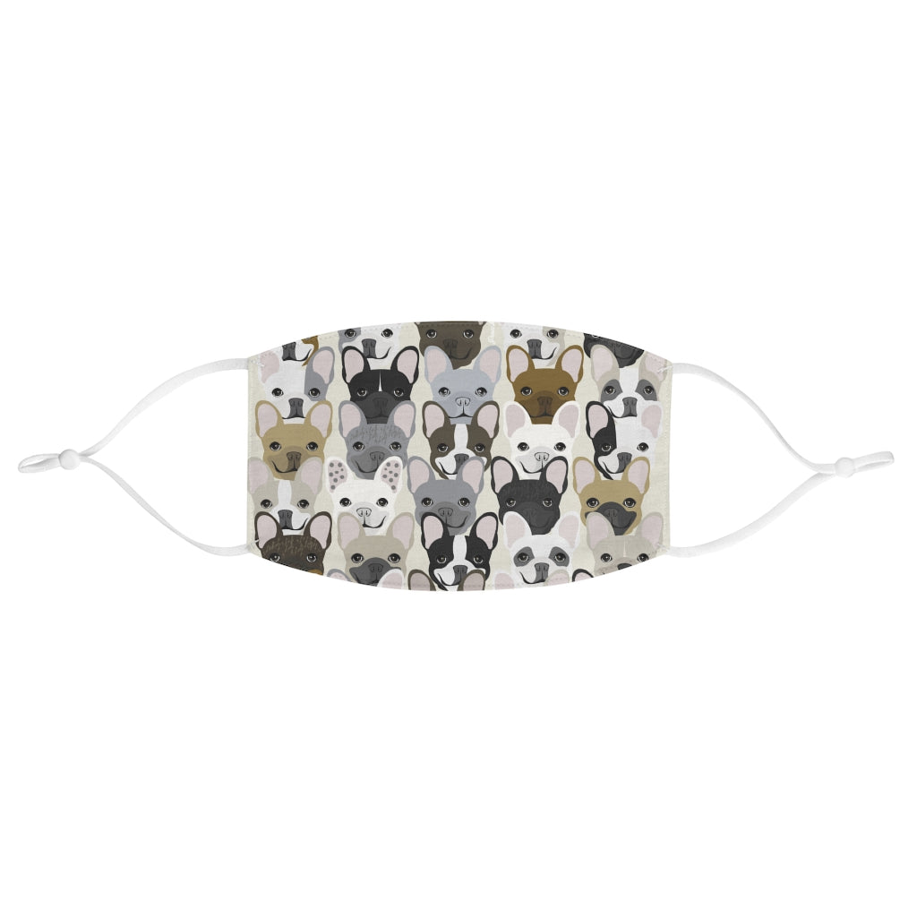 French Bulldog Pattern Reusable Face Mask, Frenchie Dog, French Bulldog pet products