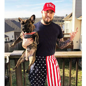 Matching patriotic dad and frenchie both wearing usa themed clothing. Fathers day gift ideas for dog lovers
