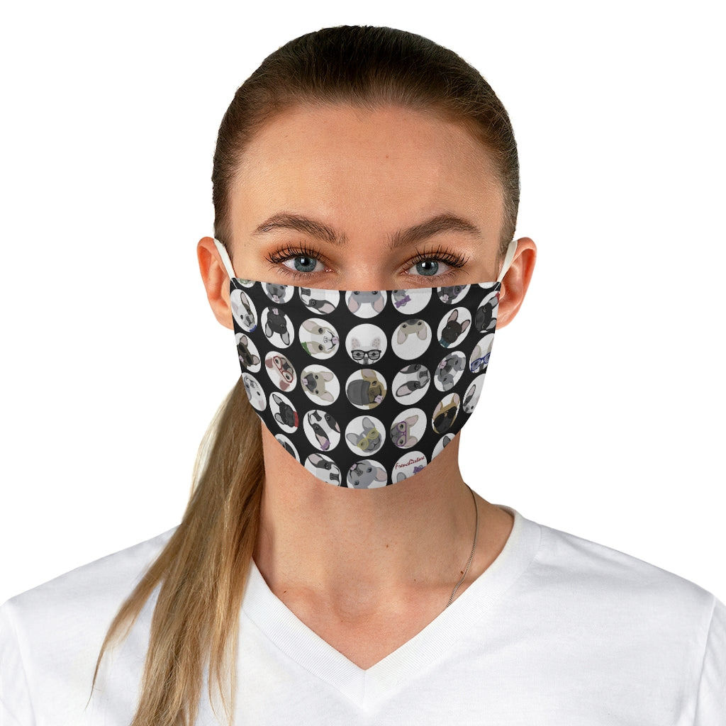 French Bulldogs Black Polka Dots Reusable Face Mask