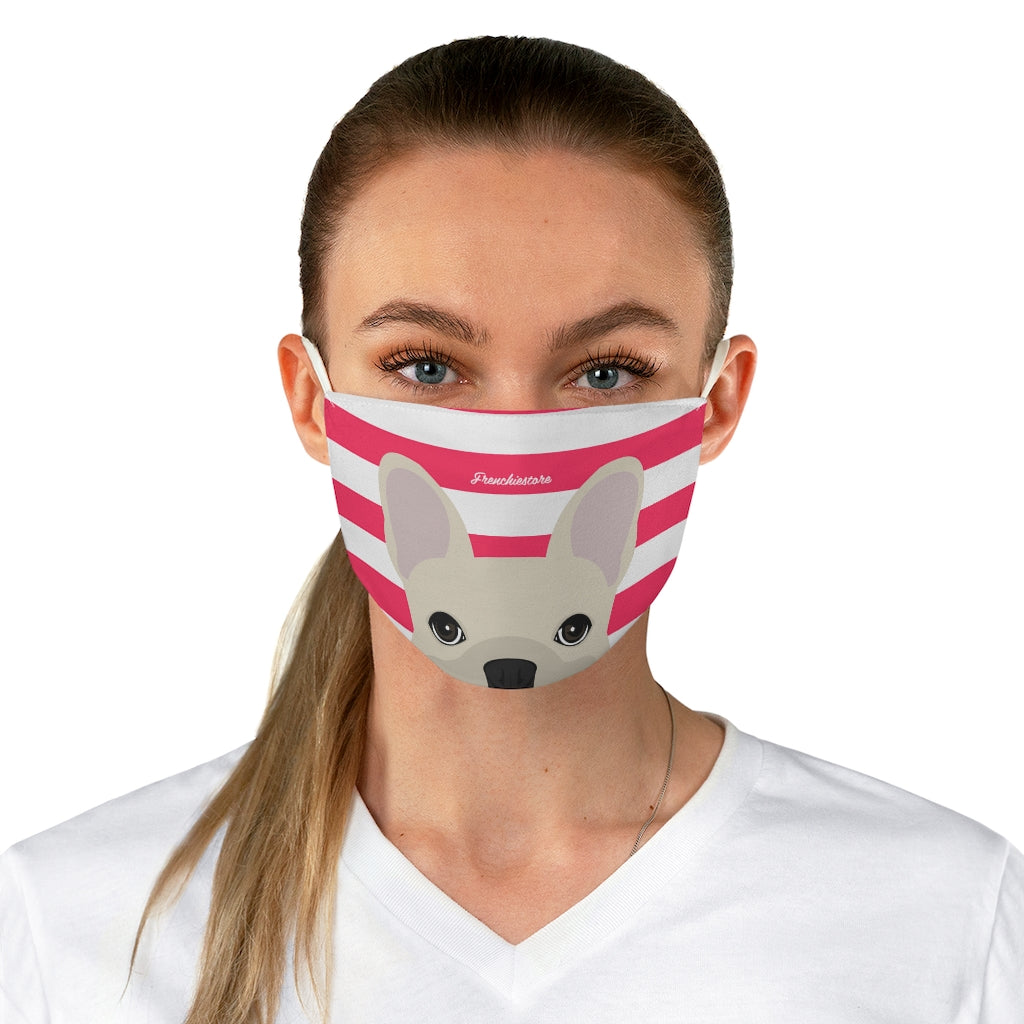 Cream Frenchie on Hot Pink Stripes Reusable Face Mask