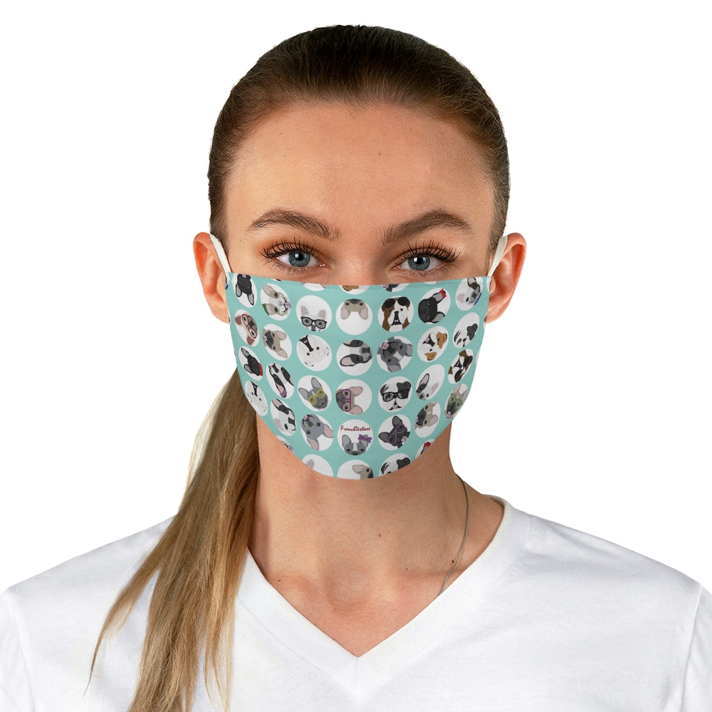 French and English Bulldogs on Teal Polka Dots Reusable Face Mask