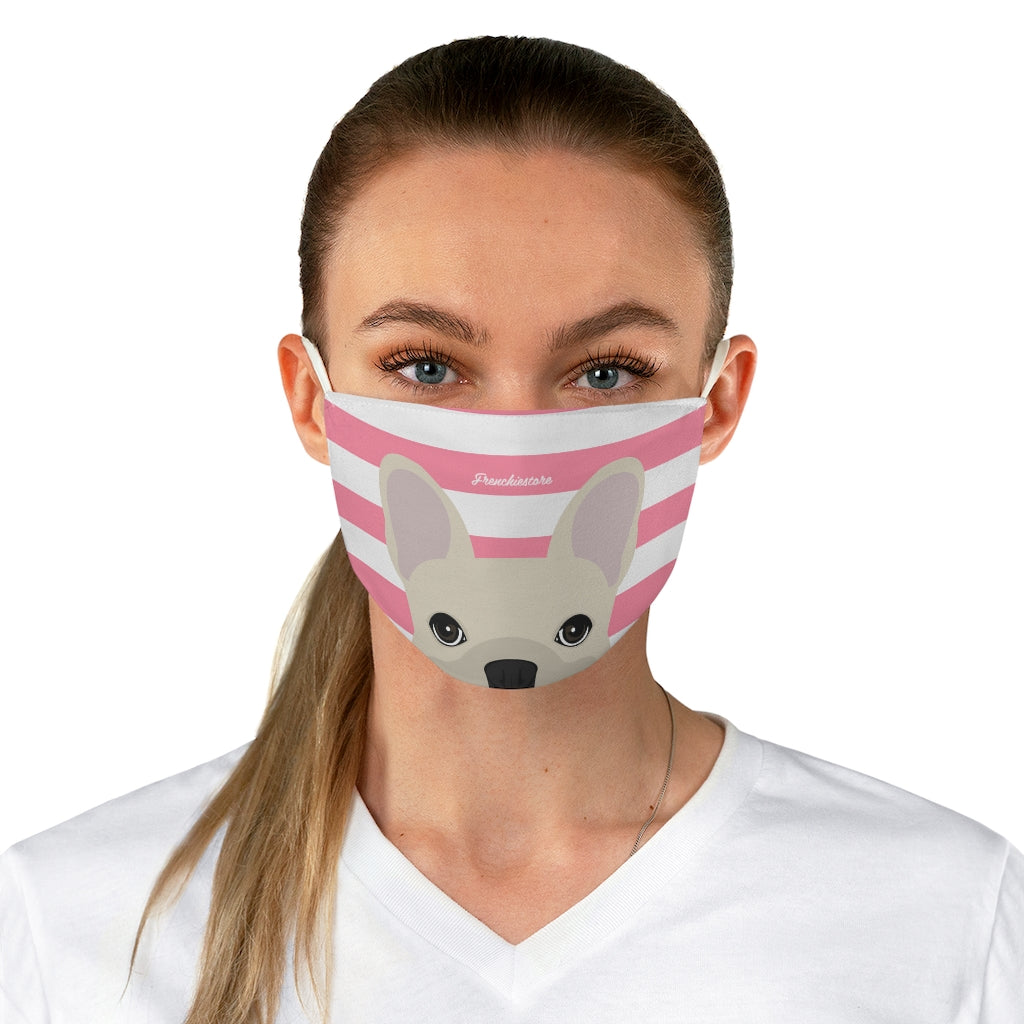 Cream Frenchie on Pink Stripes Reusable Face Mask